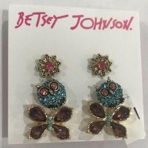 BETSEY JOHNSON Trio Owl Butterfly Posie Earrings